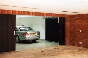 Round-the-Corner garage doors - brown with car