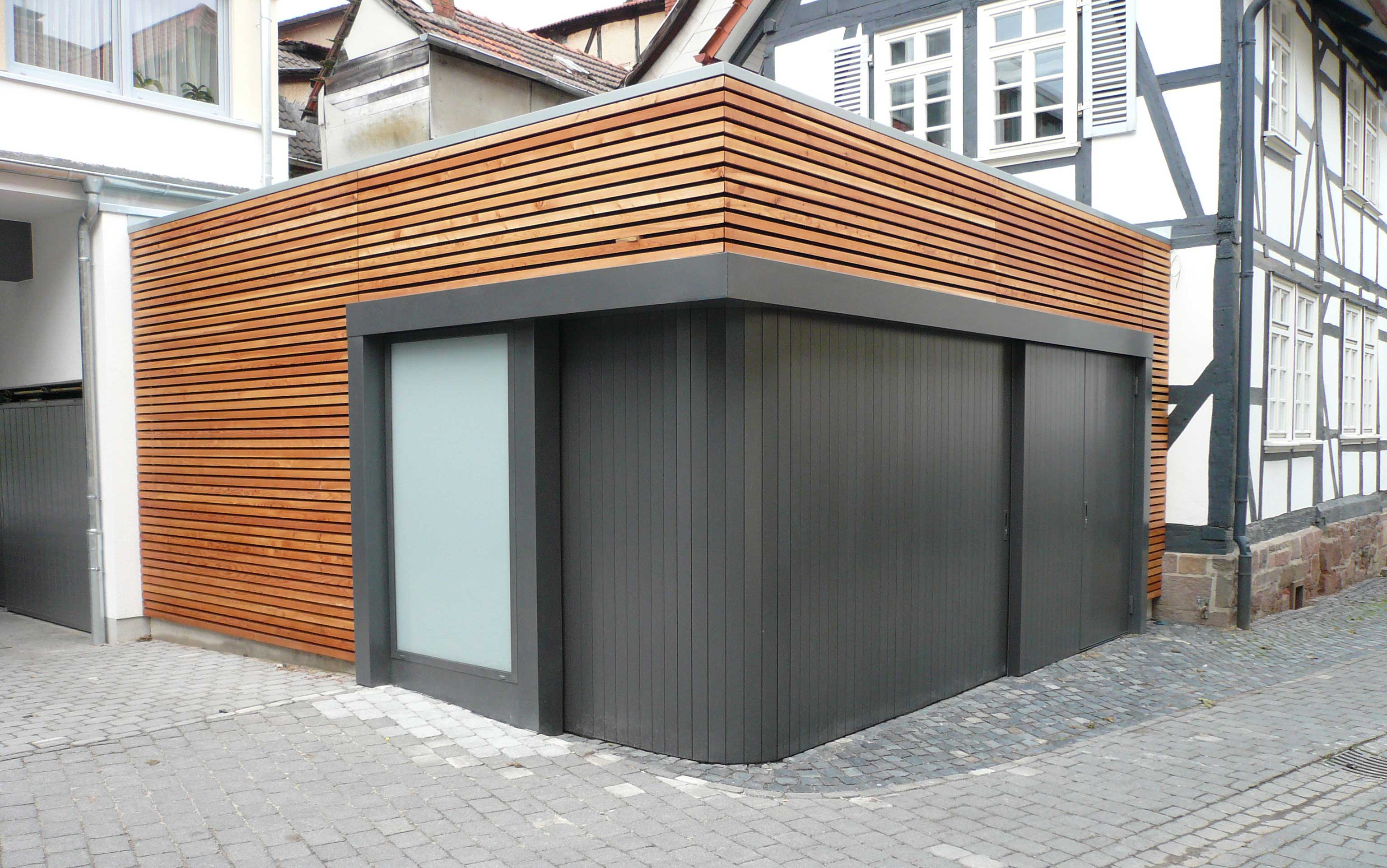 Cornerless Garage Doors - black with wood
