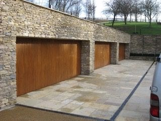 carriage house garage doors - wood trio
