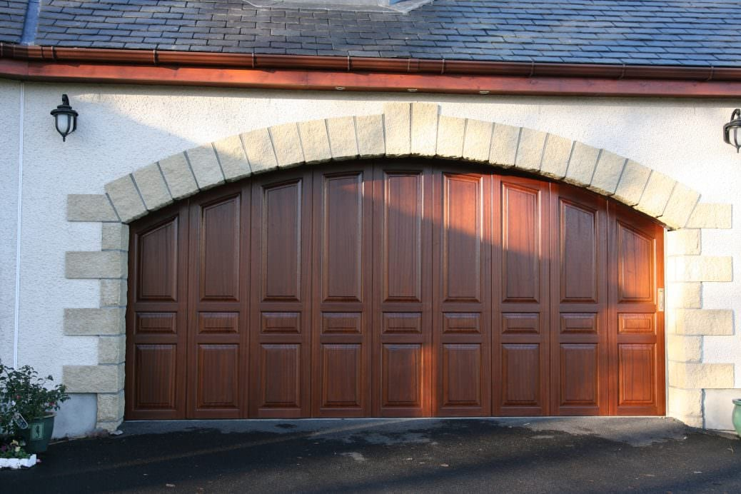 carriage house garage doors - dark wood